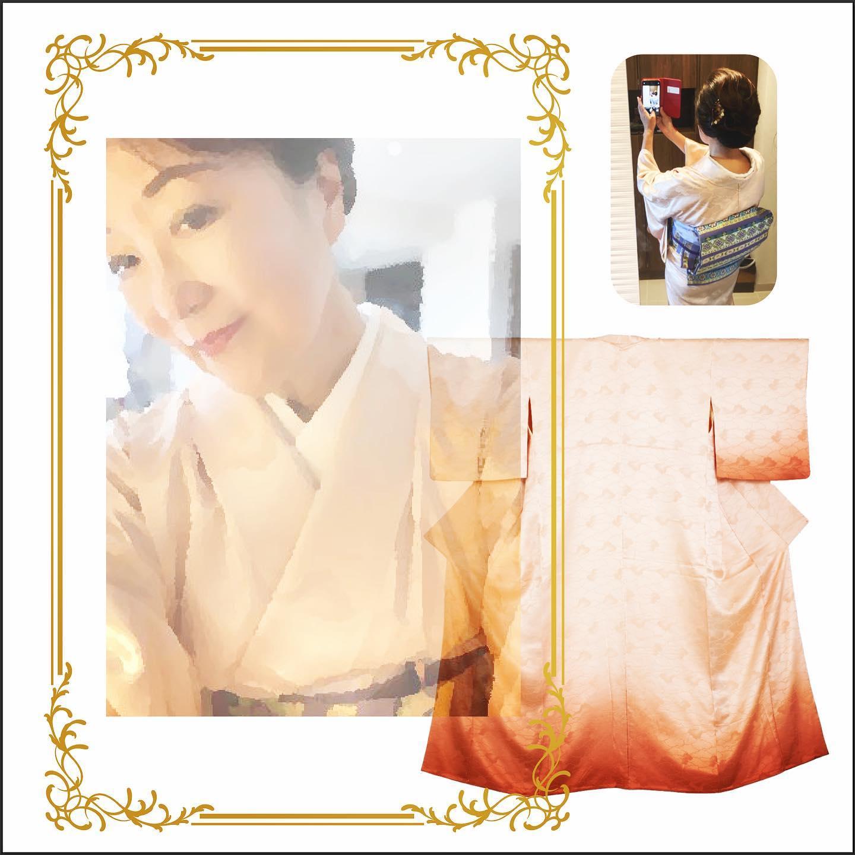 裾グラデーションが美しい着物に段模様の帯の洗練されたコーディネート